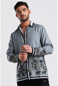 Grey Long Sleeve Oriental Border Print Shirt