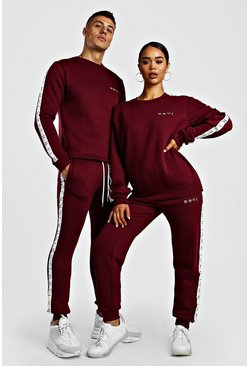 Dark pink Her Loose Fit Tape Detail Tracksuit