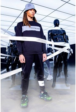 Black Official MAN Reflective Panel Sweater Tracksuit