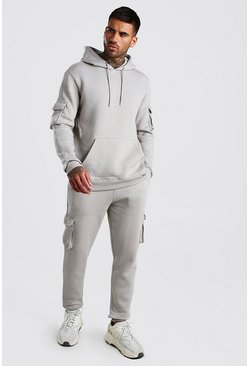 Slate Original MAN Cargo Hooded Tracksuit With Piping