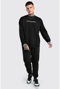 Black Official MAN Loose Fit Sweater Tracksuit