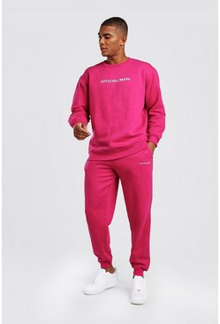 Pink Official MAN Loose Fit Sweater Tracksuit