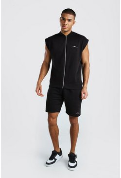 Black MAN Signature Sleeveless Bomber & Short Set