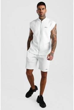 Ecru MAN Signature Sleeveless Bomber & Short Set