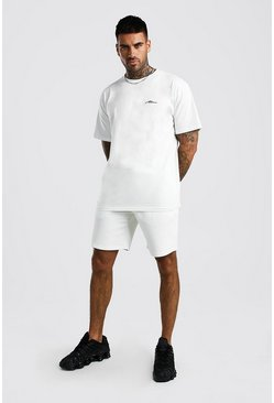 Ecru MAN Signature T-shirt och shorts med ledig passform