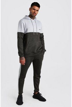 Grey marl MAN Colour Black Hooded Tracksuit