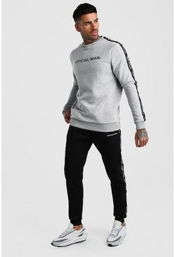 Grey marl Contrast Official MAN Tape Sweater & Jogger Set
