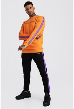 Official MAN Trainingsanzug mit Pullover mit Hi-Lo-Saum, Orange