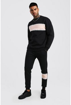 Black MAN Tape Colour Block Loose Fit Sweater Tracksuit