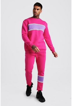 Pink MAN Tape Colour Block Loose Fit Sweater Tracksuit