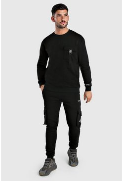Black MAN Dash Utility Sweater Tracksuit With Buckles