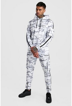 Light grey Official MAN Camo Utility Hooded Tracksuit