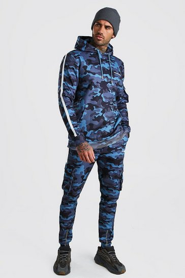 Blue Official MAN Camo Utility Hooded Tracksuit With Tape