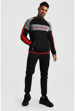 Red MAN Official Contrast Panel Tracksuit With Rib