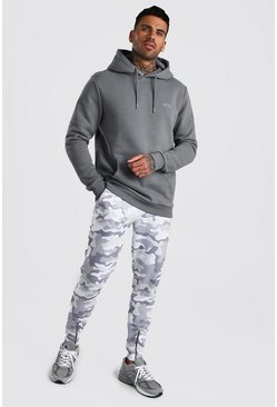 Slate Contrast MAN Hoodie & Camo Jogger With Zip Cuffs