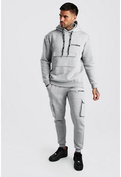 Grey marl MAN Official Cargo Hooded Tracksuit With Print