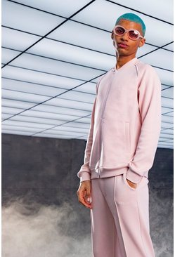 Dusky pink MAN Smart Scuba Bomber Tracksuit With Piping