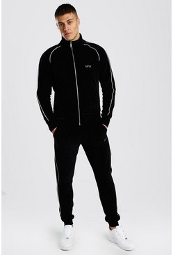 Black Original MAN Velour Tracksuit With Piping