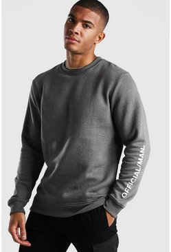 Slate Official MAN Sleeve Print Sweater