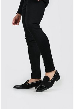 Black Stud Edge Toecap Loafer