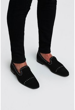 Black Stud Immi Suede Loafer
