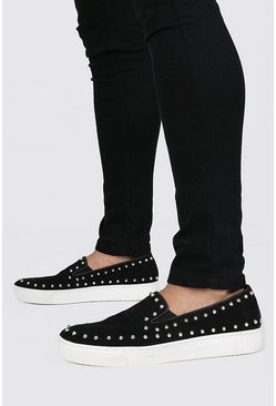 Black Studded Edge Slip On Trainer