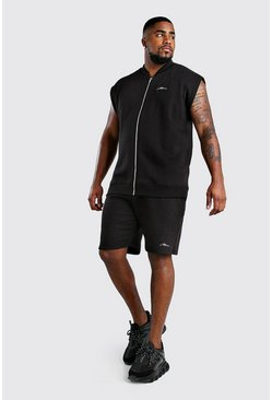 Conjunto de shorts y bómber de la firma MAN Big And Tall, Negro