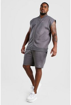 Conjunto de shorts y bómber de la firma MAN Big And Tall, Gris pizarra