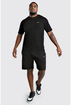 Conjunto de pantalones cortos y camiseta MAN Big And Tall, Negro