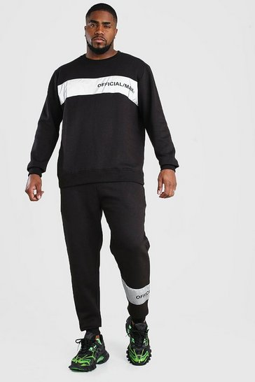 Black Big And Tall Official MAN Reflective Tracksuit