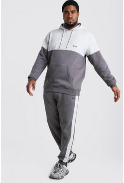Charcoal Big And Tall MAN Colour Block Tracksuit