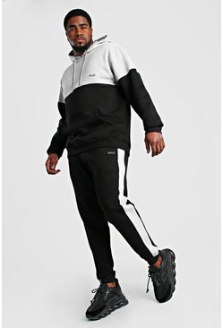 Big And Tall MAN Trainingsanzug im Colorblock-Design, Schwarz