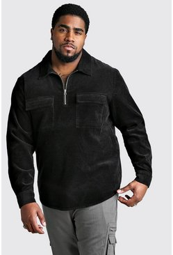 Camisa de pana con media cremallera Big And Tall, Negro
