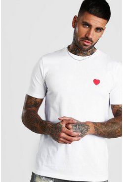 White Valentines Heart Embroidered T-Shirt