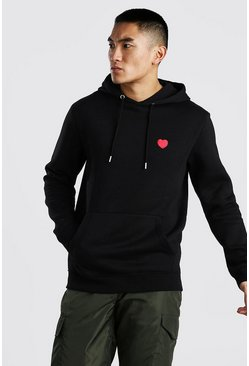 Black Valentines Heart Embroidered Hoodie