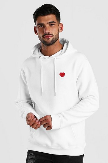 White Valentines Heart Embroidered Hoodie