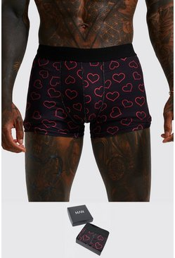 Black Valentines Heart Boxer Gift Set