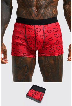 Valentines Heart Boxer Gift Set, Red