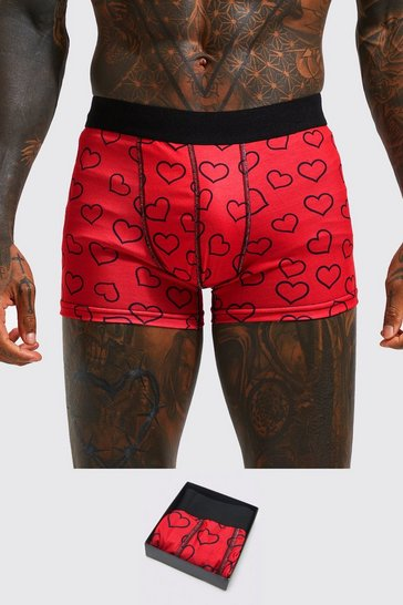 Red Valentines Heart Boxer Gift Set
