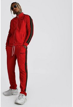 Red MAN Official Velour Funnel Neck Tape Tracksuit