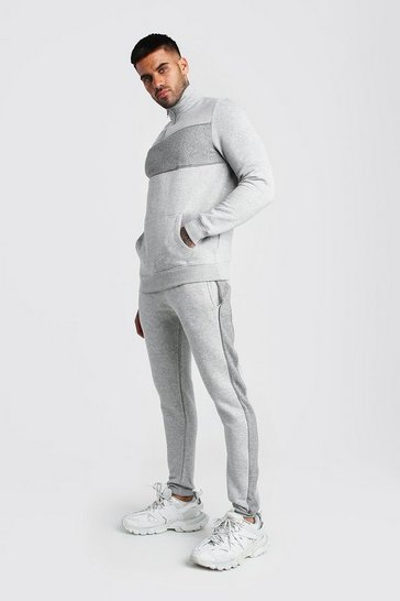 Grey Colour Block Half Zip Tracksuit with Piping