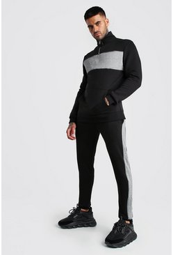 Colour Block Half Zip Tracksuit with Piping, Black