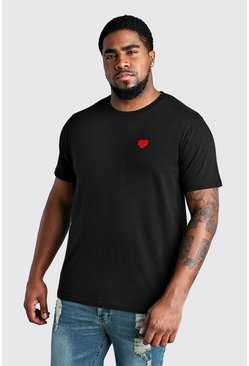 Black Big And Tall Valentines Heart T-Shirt