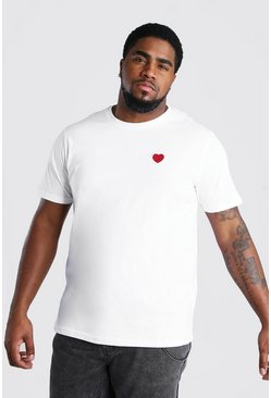 White Big And Tall Valentines Embroidered T-Shirt