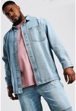 Big And Tall Longline Denim Overshirt, Pale wash