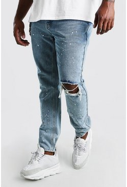 Big And Tall Skinny Fit Busted Knee Jean, Pale wash