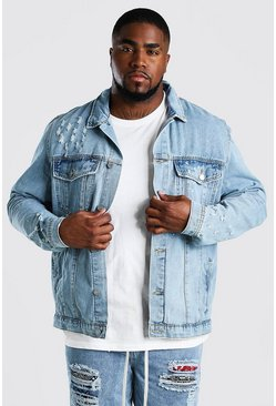 Big And Tall Paint Splatter Denim Jacket , Pale wash