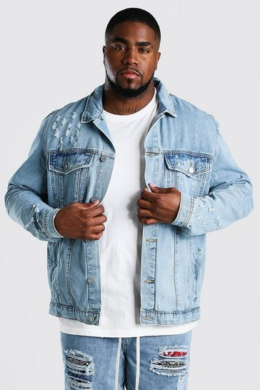 Pale wash Big And Tall Paint Splatter Denim Jacket