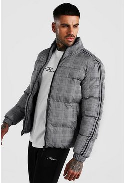 Check Puffer With Side Tape, Grey