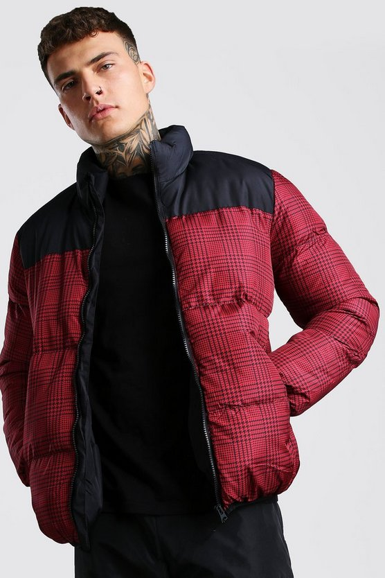 Red Check Print Puffer With Black Panel